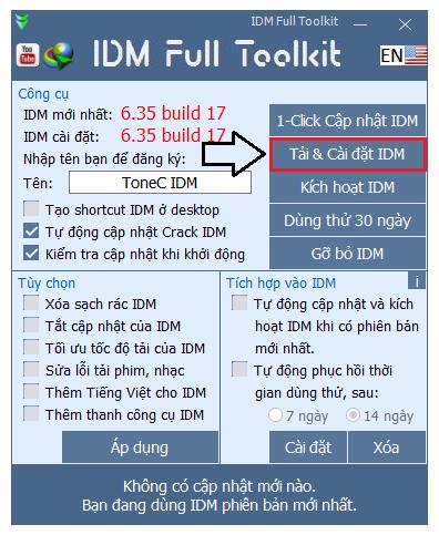 Cài đặt IDM bằng toolkit
