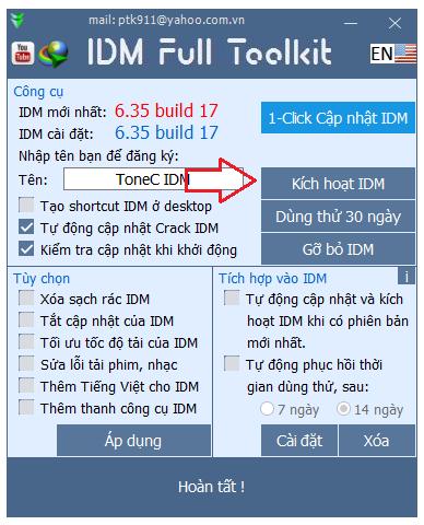 Crack IDM bằng toolkit