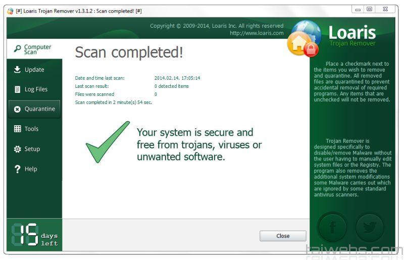 Giao diện phần mềm diệt virut Loaris Trojan Remover