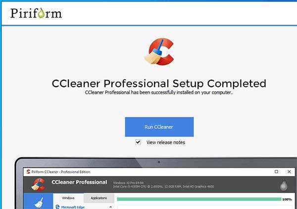Quá trình cài đặt ccleaner thành công.