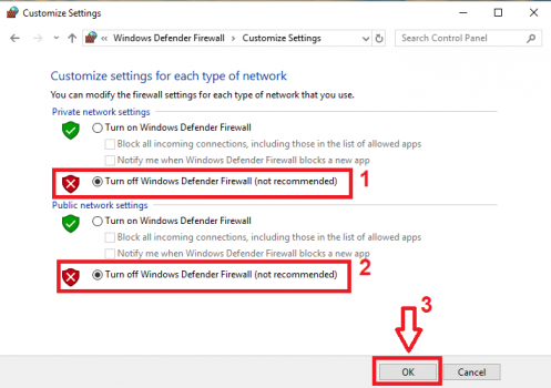 Customize setting firewall