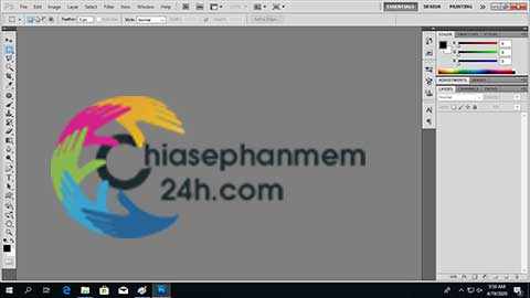 Giao diện phần mềm Photoshop CS5 Portable với quyên admin