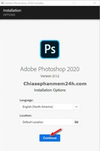 Bấm Continue để chấp nhận cài đặt phần mềm photoshop cc 2020
