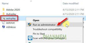 Chạy phần mềm Photoshop 2020 với quyên Administrator.