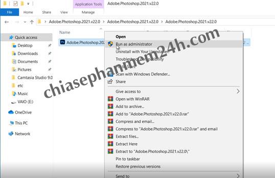 Chạy file Photoshop cc phiên bản năm 2021 với quyền Run as administrator.