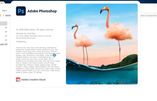 Quá trình khổi động của phần mềm photoshop cc 2021