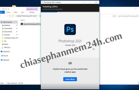 Quá trình cài đặt photoshop cc 2021 đang tiến hành.