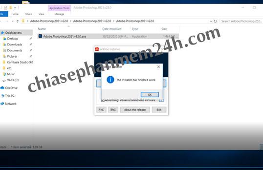 Bấm OKE để hoàn tất quá trình cài đặt phần mềm photoshop cc mới nhất năm 2021.