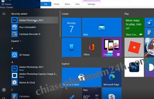Bấm nút Windows để tìm và khởi động phần mềm photoshop cc 2021