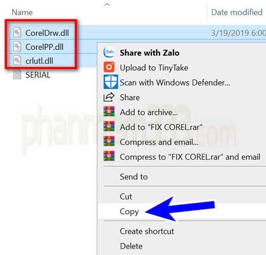 coppy file active vào thư mục cài đặt