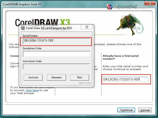 Nhập Serial Number:DR13CRG-7252073-YEP để cài đặt phần mềm corel x3