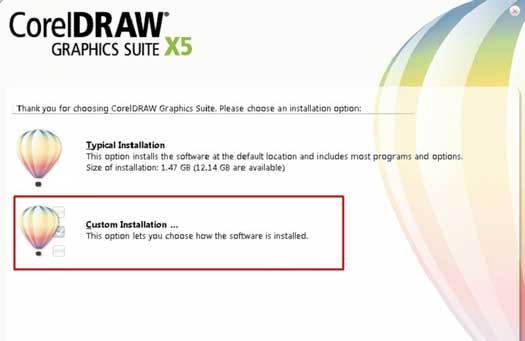 Custom installation theo hướng dẫn cài đặt phần mềm thiết kế corel x5