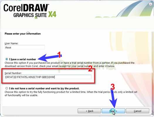 nhập serial để tiếp cài đặt phần mềm coreldraw x4